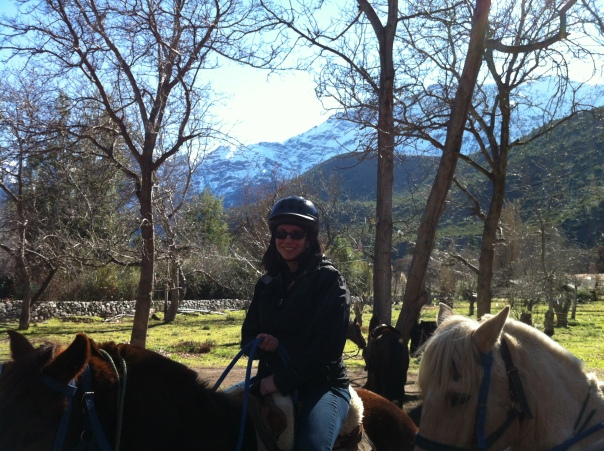 Katherine Quevedo horseback riding in the Andes