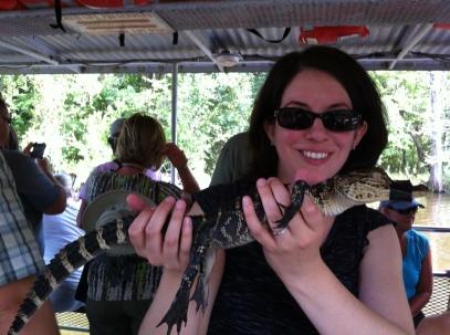 Katherine Quevedo holding gator
