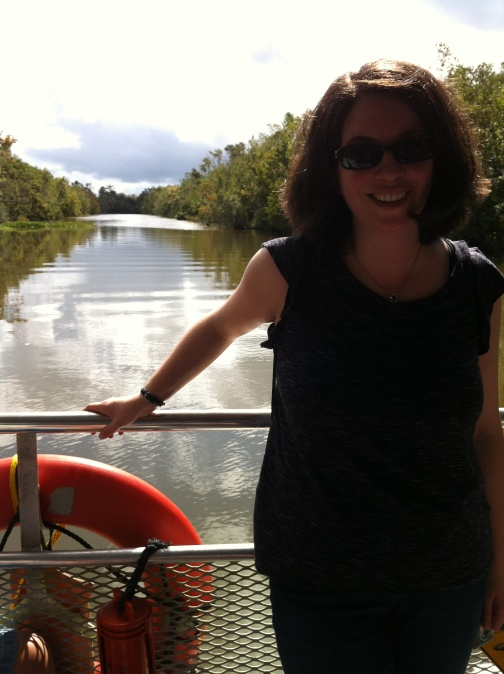 Katherine Quevedo on Bayou swamp boat