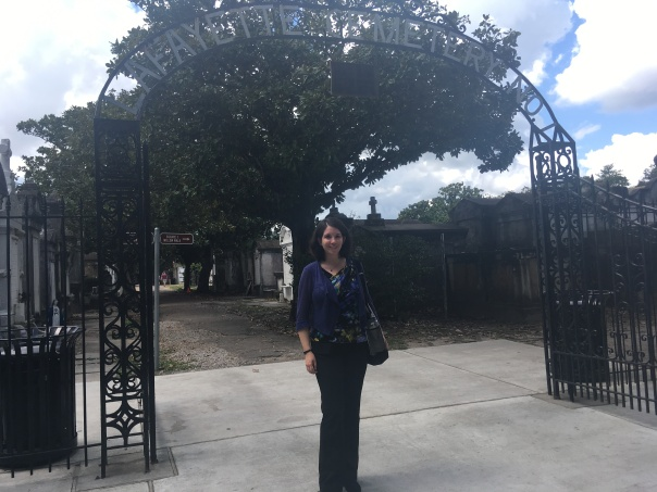 Katherine Quevedo in New Orleans cemetery - daytime