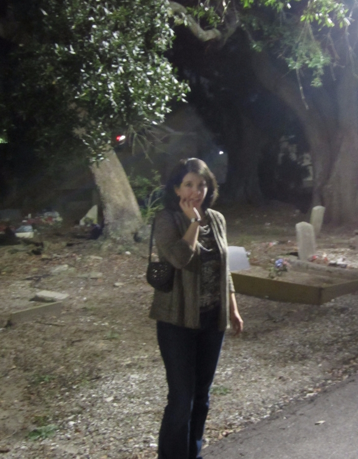 Katherine Quevedo in New Orleans cemetery - nighttime